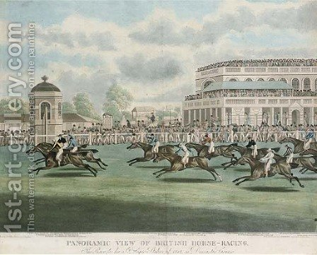 The race for the St. Leger stakes of 1812, on Doncaster Course by (after) Clifton Thomson - Reproduction Oil Painting