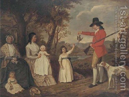 A group portrait of the Spreull family at Charing Cross, Glasgow, James Spreull, full-length, holding a woodcock with a gundog at his side by (after) David Allan - Reproduction Oil Painting