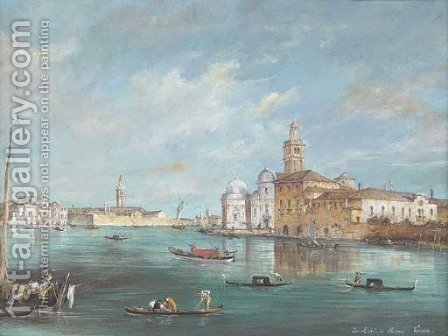 View of San Michele di Murano, Venice by (after) Francesco Guardi - Reproduction Oil Painting