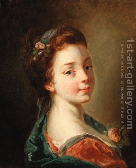 A girl with flowers in her hair by (after) Francois Boucher - Reproduction Oil Painting