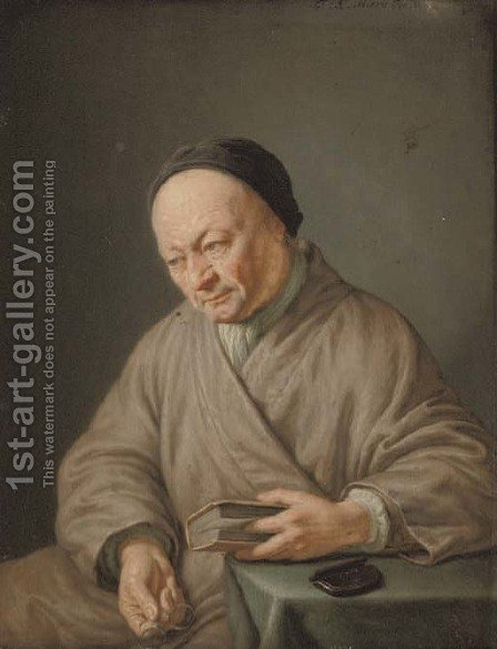 An elderly man, three-quarter-length, seated in a beige robe with a black cap, holding a book in his left hand and glasses in his right by (after) Frans Van Mieris - Reproduction Oil Painting