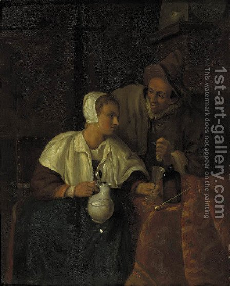 A woman seated by a table pouring wine for a man, in an interior by (after) Gabriel Metsu - Reproduction Oil Painting