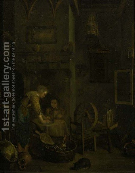 A maid cleaning a pewter dish by a table in an interior by (after) Geertruyd Roghman - Reproduction Oil Painting