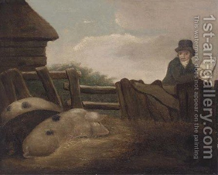 Sketching a sow by (after) George Morland - Reproduction Oil Painting