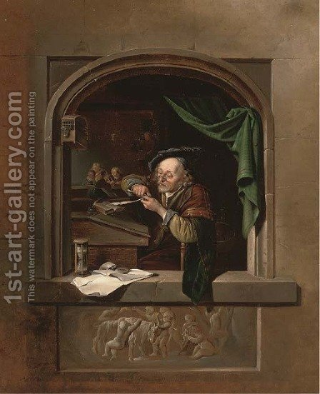 The Schoolmaster by (after) Gerrit Dou - Reproduction Oil Painting