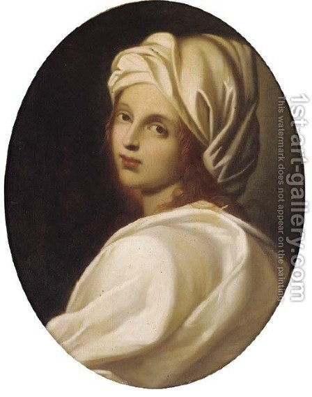 A girl in a white headdress, in a feigned oval by (after) Guido Reni - Reproduction Oil Painting