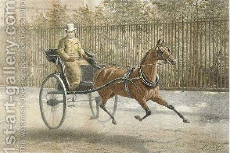 Two Favourites, James Selby driving his favourite mare Savernake by Harrington Bird - Reproduction Oil Painting