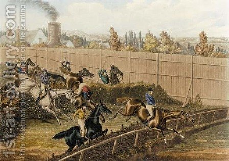 The last grand steeplechase at the Hippodrome racecourse, Kensington by (after) Henry Jnr Alken - Reproduction Oil Painting