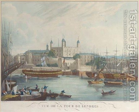 Vue de la Tour de London, Himely by (after) Gendall, John - Reproduction Oil Painting