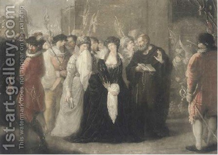 The Death of Lady Jane Gray, 1554, by Valentine Green by (after) Huck, Johann Gerhard - Reproduction Oil Painting