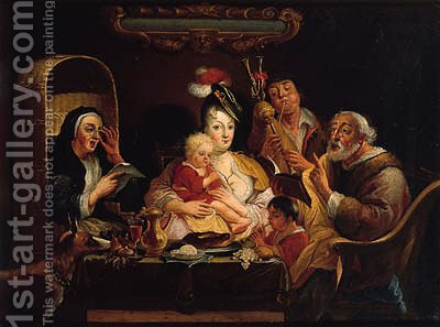As the old ones sing, so pipe the young ones by (after) Jacob Jordaens - Reproduction Oil Painting