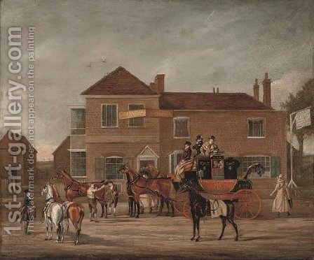 The Manchester to London Royal Mail outside the Old White Lion by (after) James Pollard - Reproduction Oil Painting