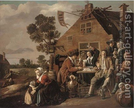 Card players outside a tavern by (after) Jan Miense Molenaer - Reproduction Oil Painting