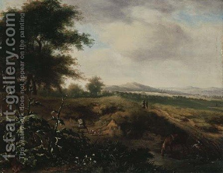 An extensive landscape with a sportsman and his dog at the edge of a wood by (after) Jan Wijnants - Reproduction Oil Painting