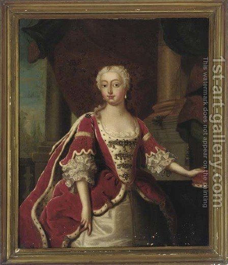 Portrait of Augusta, Princess of Wales (1719-1772), three-quarter-length, in an ermine-trimmed dress, her left hand resting on her crown by (after) Jean Baptiste Van Loo - Reproduction Oil Painting