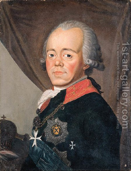 Portrait of Tsar Paul I Petrovich by (after) Johann Baptist The Elder Lampi - Reproduction Oil Painting
