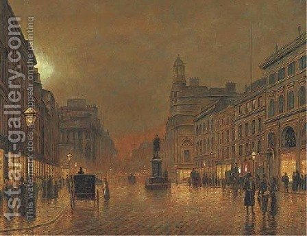 A busy street by night by (after) John Atkinson Grimshaw - Reproduction Oil Painting