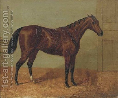 Beeswing, a racehorse in a stable by (after) John Frederick Herring - Reproduction Oil Painting