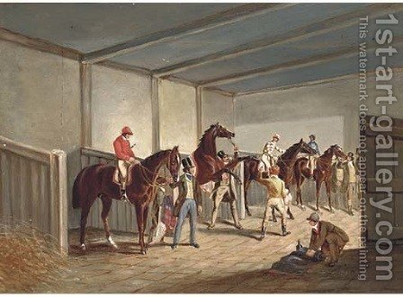 Raceshorses in a stable by (after) Herring Snr, John Frederick - Reproduction Oil Painting