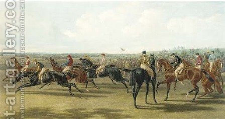 Fore's National Sports Racing, Saddling by (after) Herring Snr, John Frederick - Reproduction Oil Painting