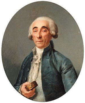 Reproduction oil paintings - Joseph Siffrein Duplessis - Portrait of Jean-Franois Lagrenee, bust-length, wearing a grey coat and a cravat, holding a snuff box