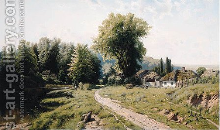 Summer Landscape with Cottages by (after) Konstantin Iakovlevich Kryzhitskii - Reproduction Oil Painting