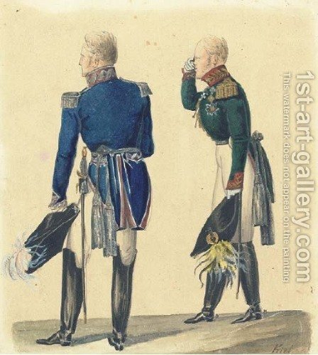 Two Russian officers by (after) Lev Ivanovich Kil' [Kiel] - Reproduction Oil Painting