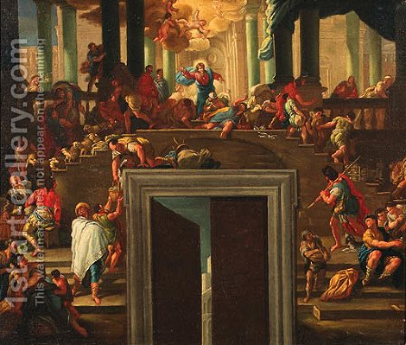 Christ Driving The Money Changers From The Temple by (after) Luca Giordano - Reproduction Oil Painting