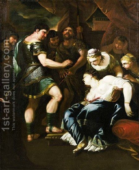 The Death of Lucretia by (after) Luca Giordano - Reproduction Oil Painting