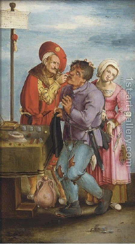 The dentist by (after) Lucas Van Leyden - Reproduction Oil Painting