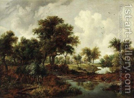 A wooded river landscape with a man on horseback and a dog on the bank by (after) Meindert Hobbema - Reproduction Oil Painting