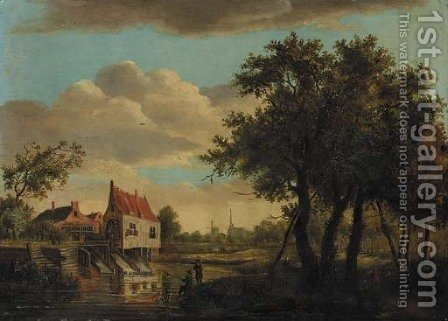 Anglers seated on a river bank by a watermill, a church in the distance by (after) Meindert Hobbema - Reproduction Oil Painting