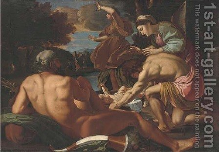 The Finding of Moses by (after) Nicolas Poussin - Reproduction Oil Painting