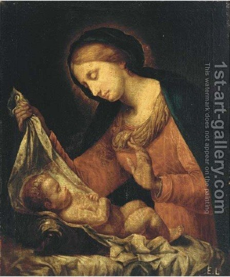 The Madonna del velo by (after) Onorio Marinari - Reproduction Oil Painting