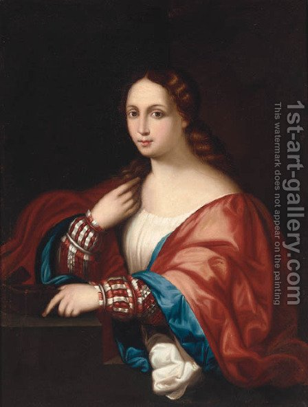 La Bella 2 by (after) Jacopo D'Antonio Negretti (see Palma Vecchio) - Reproduction Oil Painting