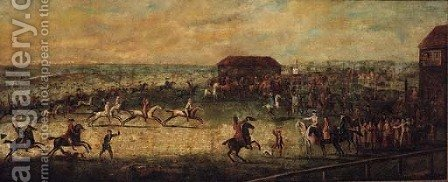 A View of a Match on the Long Course, Newmarket by (after) Peter Tillemans - Reproduction Oil Painting