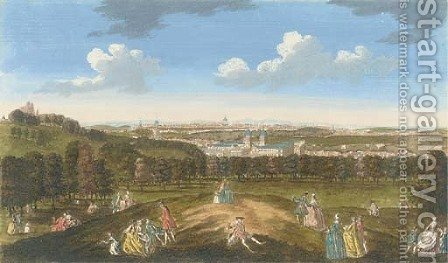 A View of London and Westminster from one Tree Hill by (after) Peter Tillemans And John Bowles - Reproduction Oil Painting