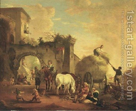 A village scene with a hay cart by (after) Philips Wouwerman - Reproduction Oil Painting