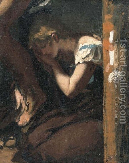 The weeping Magdalen at the foot of the Cross by (after) Pierre-Paul Prud'hon - Reproduction Oil Painting