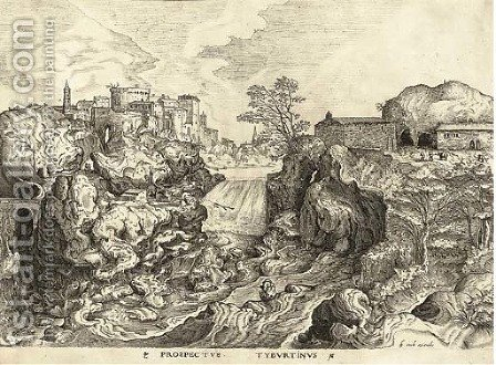 Prospectus Tyburtinus, from The Set of the large Landscapes, by H. Cock by (after) Pieter The Elder Bruegel - Reproduction Oil Painting