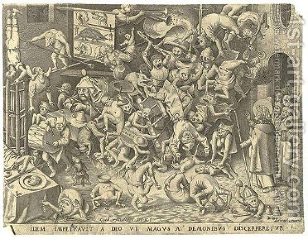 The Fall of the Magician Hermogenes, by P. van der Heyden by (after) Pieter The Elder Bruegel - Reproduction Oil Painting