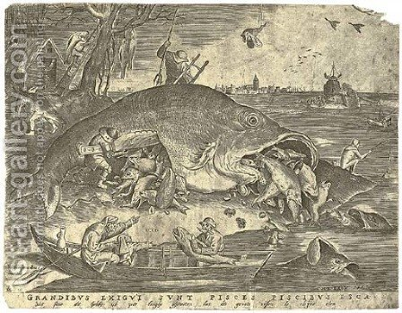 The large Fishes devouring the small Fishes, by P. Van der Heyden by (after) Pieter The Elder Bruegel - Reproduction Oil Painting