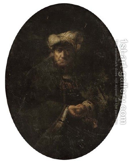 An old man in oriental costume by (after) Rembrandt Van Rijn - Reproduction Oil Painting