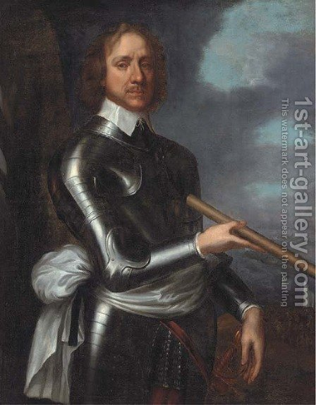 Portrait of Oliver Cromwell (1599-1658), three-quarter-length, in armour, holding a baton, a naval landing beyond by (after) Robert Walker - Reproduction Oil Painting
