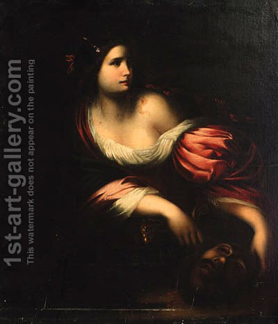 Judith with the head of Holofernes 2 by (after) Simone Pignoni - Reproduction Oil Painting
