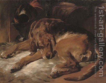 Countess sleeping by (after) Sir Edwin Henry Landseer - Reproduction Oil Painting