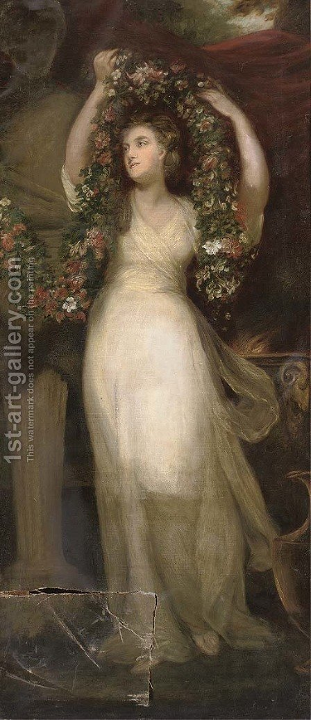 Portait of a Montgomery sister, full-length, in a white dress, holding a garland of flowers by (after) Sir Joshua Reynolds - Reproduction Oil Painting