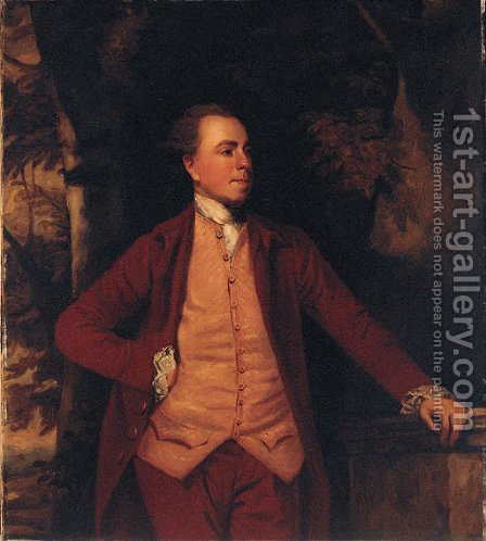 Portrait of Richard Crofts, three-quarter-length, in a dark red coat and breeches, and striped waistcoat, his left hand resting on a plinth by (after) Sir Joshua Reynolds - Reproduction Oil Painting