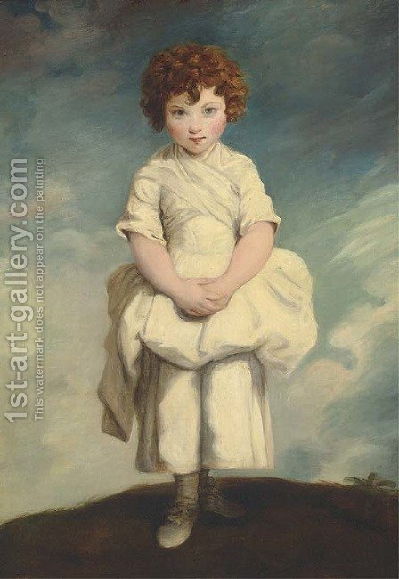 Portrait of Lady Gertrude Fitzpatrick as a child by (after) Sir Joshua Reynolds - Reproduction Oil Painting