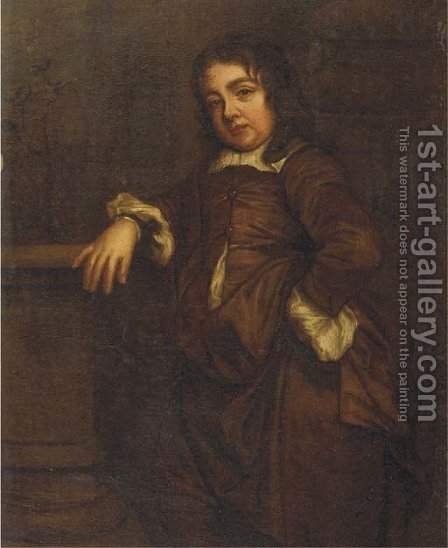 Portrait of a boy, small standing full-length, in a brown silk costume, his right arm resting on a baluster by a column, a garden beyond by (after) Sir Peter Lely - Reproduction Oil Painting